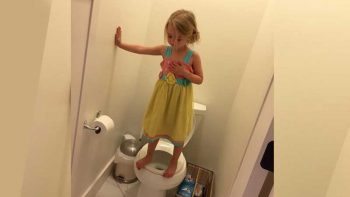 Why this photo of a girl standing on toilet seat is going viral