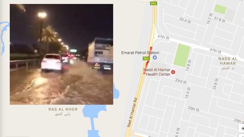 Burst water pipeline causes severe flooding on Dubai road - Expat Media