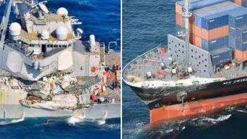 US Navy destroyer collides with Philippine container ship off Japan