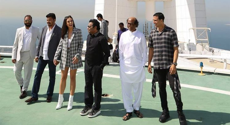 Stars of mega-budget Indian film 2.0 arrive in helicopter at Burj Al Arab