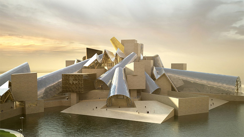 A digital rendering of the Guggenheim Museum in Abu Dhabi