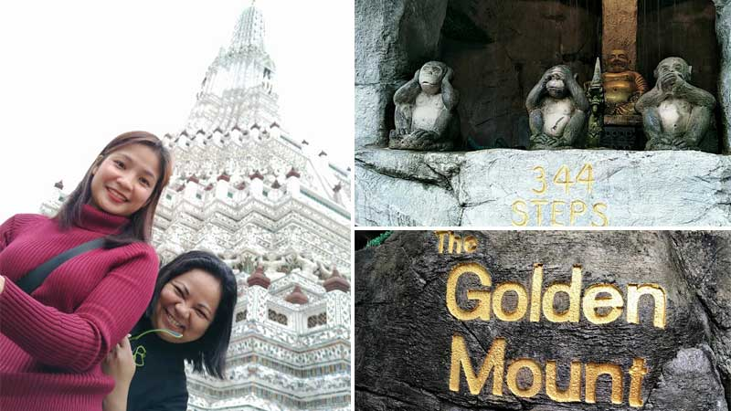 Faith Ruth Villanueva (right) and travel buddy at The Golden Mount, Thailand. FAITH RUTH VILLANUEVA