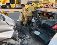 Emirati family trapped in smashed car, rescued