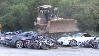 VIDEO: Smuggled Lamborghinis, Porsches bulldozed as Duterte watches