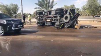 Video: Fuel tanker crashes into UAE police car, 3 injured