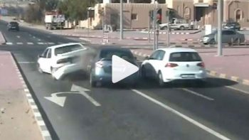 Video: Car jumps Abu Dhabi red light, crashes into vehicle