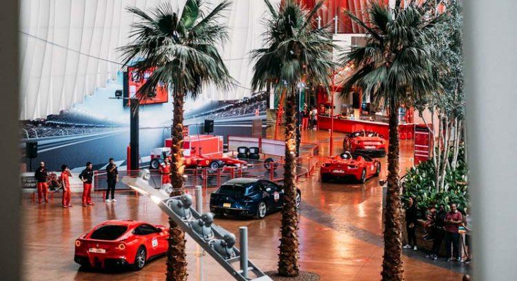 100 Ferrari cars drive through Ferrari World Abu Dhabi