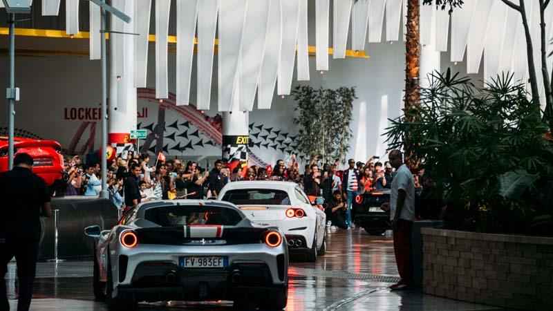 Ferrari cars drive through Ferrari World Abu Dhabi