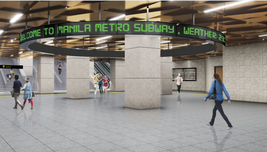An artist's impression of the Metro Manila Subway.