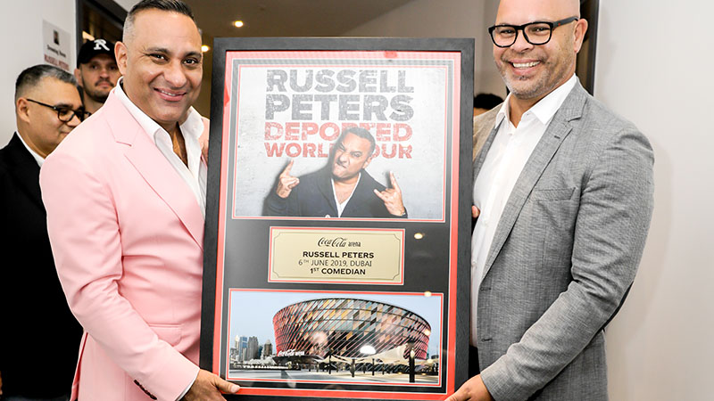 Comedian Russell Peters performs at the Coca-Cola Arena on June 6, 2019.