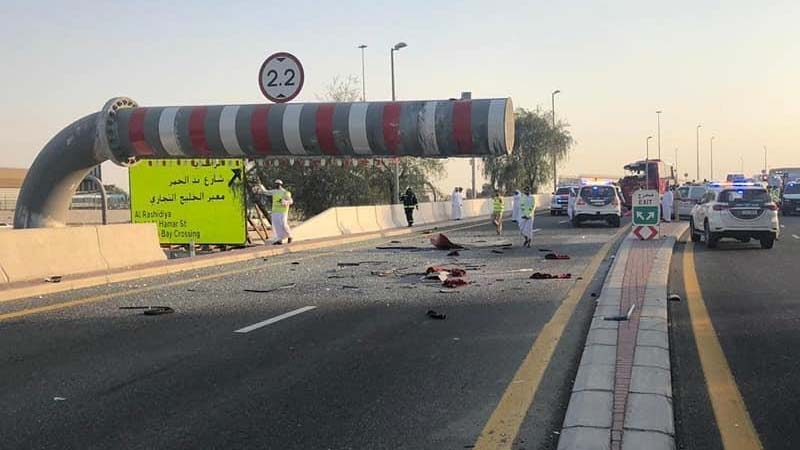 At the scene of the crash on Sheikh Mohammed Bin Zayed Road on June 6, 2019.
