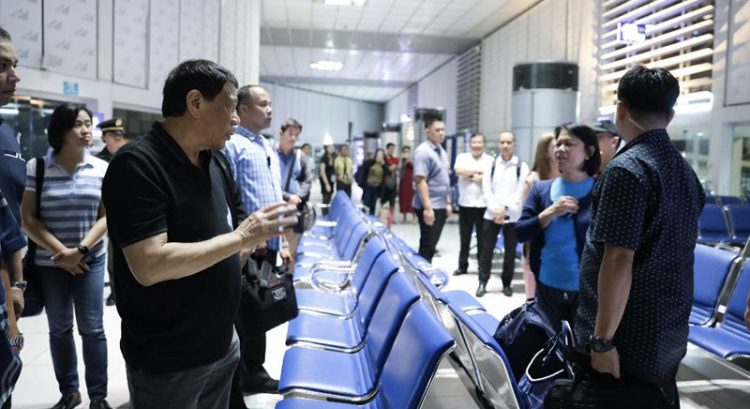 Look: Duterte makes surprise inspection of NAIA Terminal 2