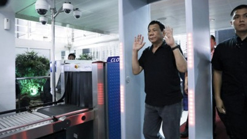 resident Rodrigo Duterte during a surprise inspection at NAIA Terminal 2 in Pasay City on June 10, 2019.