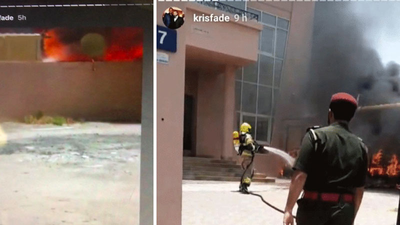 Snapshots from Kris Fade's Instagram Stories of the fire in Al Barsha, Dubai.