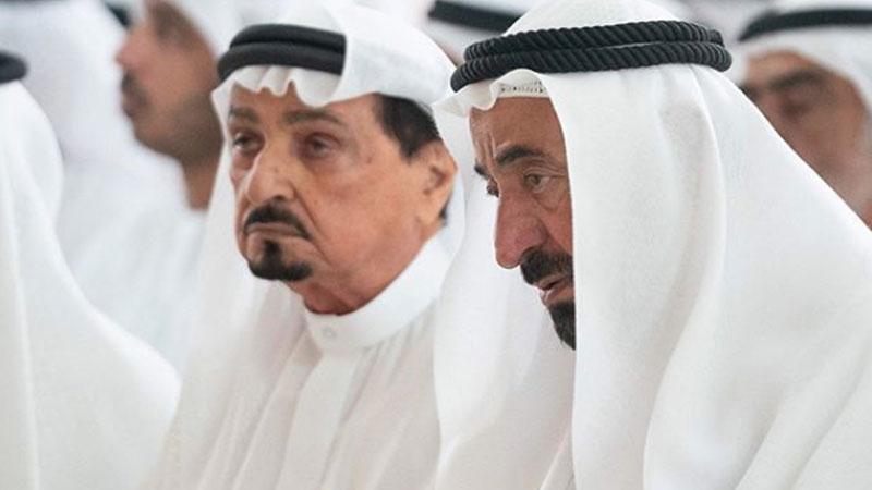 At the funeral of Sheikh Khalid Bin Sultan Bin Mohamed Al Qasimi in Sharjah on July 3, 2019.
