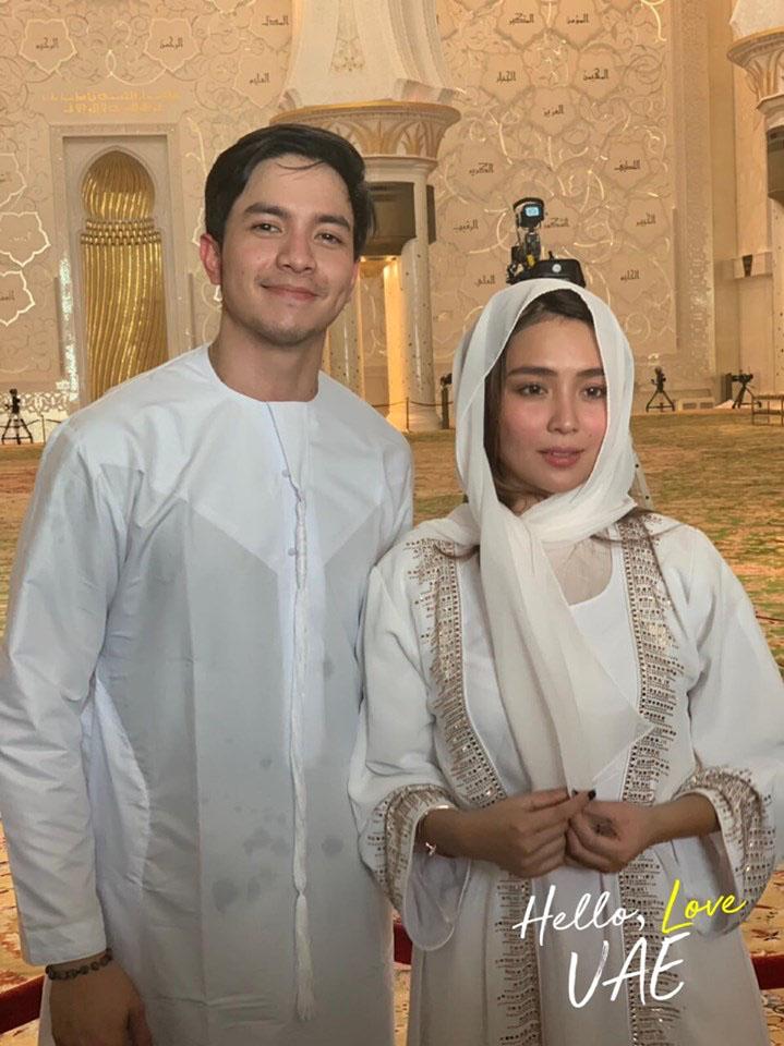 Alden Richards and Kathryn Bernardo at Sheikh Zayed Grand Mosque on August 10, 2019.