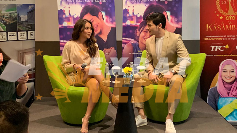Alden Richards and Kathryn Bernardo at Novotel Hotel in Dubai on August 9, 2019. EXPAT MEDIA