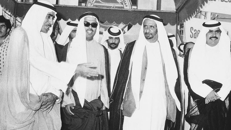 Saif Ahmed Al Ghurair is seen with the Late Sheikh Rashid bin Saeed Al Maktoum. Image Credit: Dubai Chamber of Commerce & Industry (DCCI)