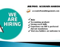 Accounts Assistant, male, required