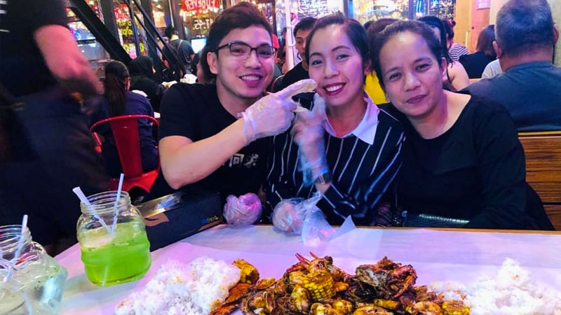 Julie Ann Marin with her brother and sister in Dubai