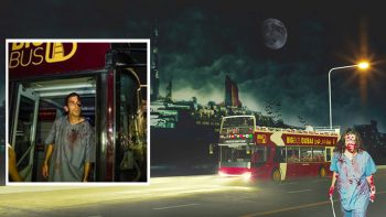 Zombies take over Big Bus Dubai, QE2