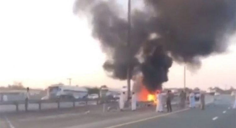 Car catches fire after crashing into UAE electric pole
