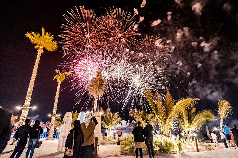 fireworks in La Mer, Dubai on January 1, 2020