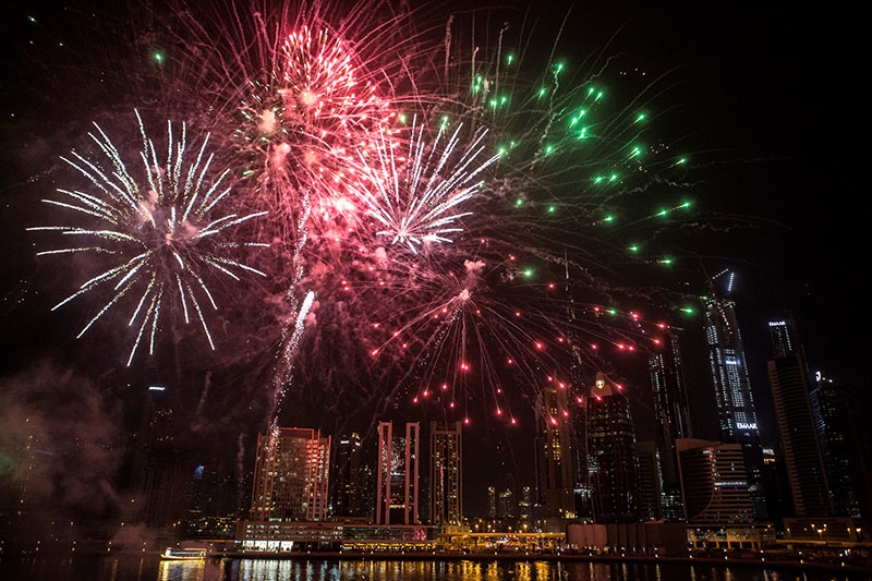 fireworks in Dubai on January 1, 2020