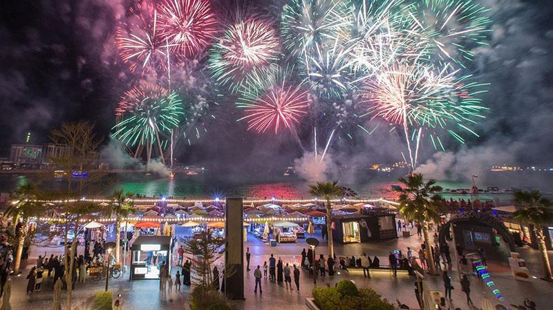 fireworks in The Beach, Dubai on January 1, 2020