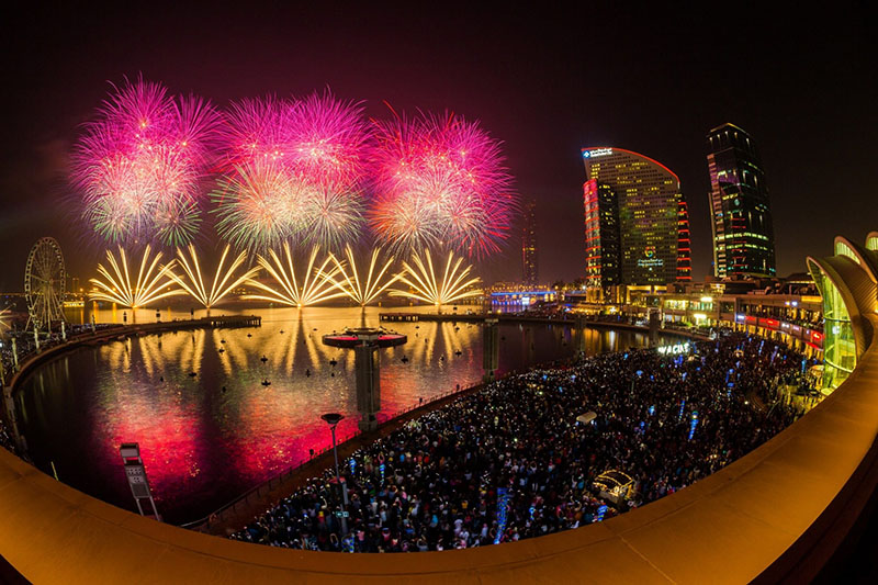 fireworks in Dubai Festival City, Dubai on January 1, 2020