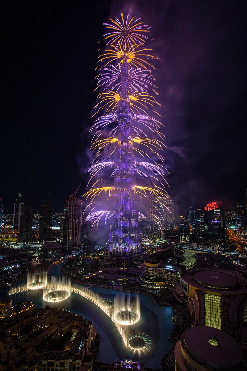 fireworks from Burj Khalifa, Dubai on January 1, 2020