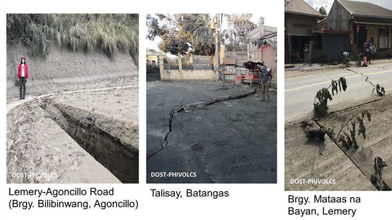 The Philippine Institute of Volcanology and Seismology (Phivolcs) said on Tuesday (January 14) that ground fissures were seen in the municipalities of Agoncillo, Talisay and Lemery in Batangas province, which was hit by earthquakes of varying intensities on Tuesday.