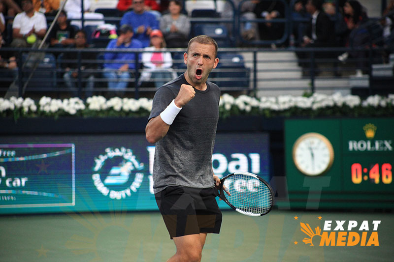 Daniel Evans at the Dubai Duty Free Tennis Championships on February 28, 2020