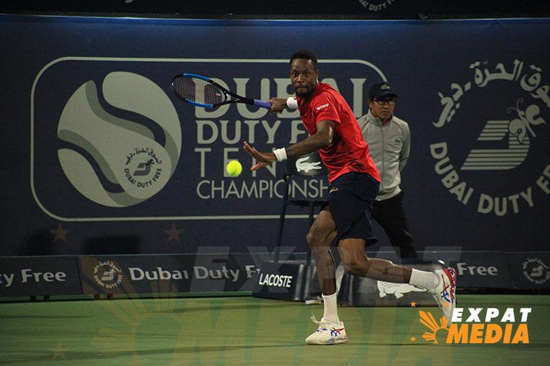 Gael Monfis at the Dubai Duty Free Tennis Championships vs Novak Djokovic on February 28, 2020