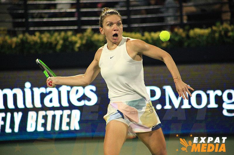 Simona Halep at the Dubai Duty Free Tennis Championships on February 21, 2020. JONATHAN YBERA/EXPAT MEDIA