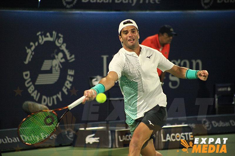 Malek Jaziri at the Dubai Duty Free Tennis Championships on February 25, 2020. JONATHAN YBERA/EXPAT MEDIA