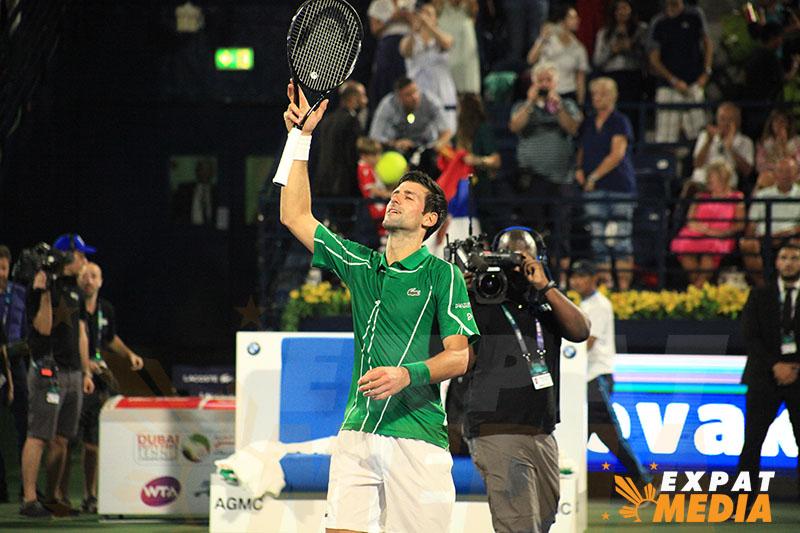 Novak Djokovic at the Dubai Duty Free Tennis Championships on February 25, 2020.