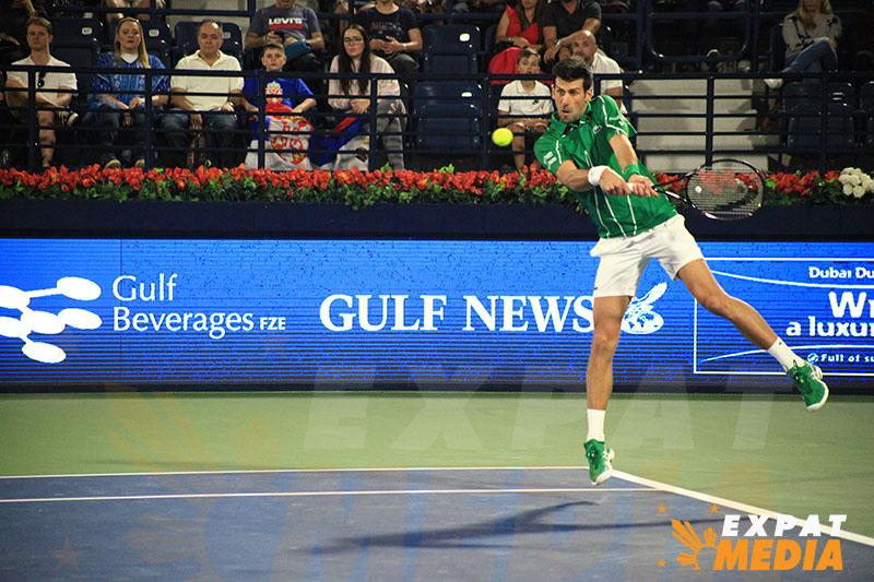 Novak Djokovic at the Dubai Duty Free Tennis Championships on February 25, 2020. JONATHAN YBERA/EXPAT MEDIA