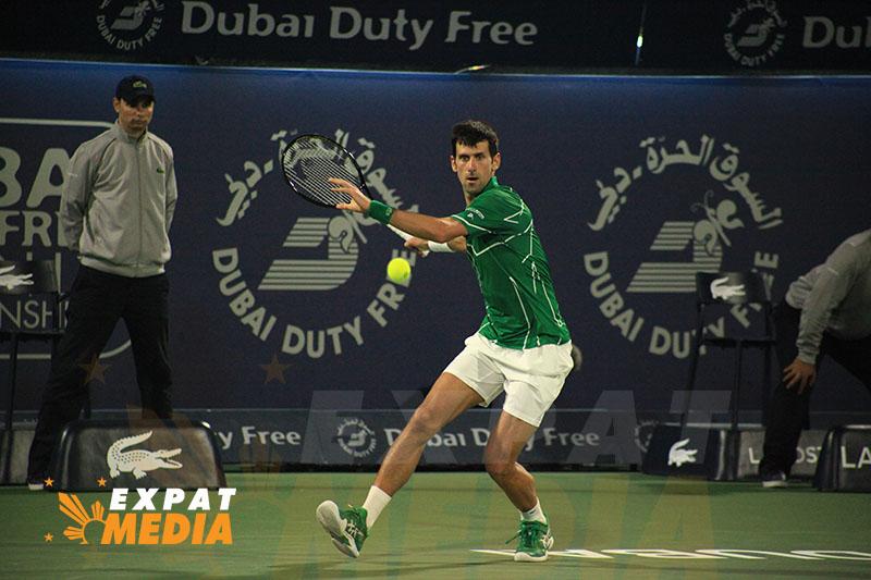 Novak Djokovic at the Dubai Duty Free Tennis Championships on February 28, 2020