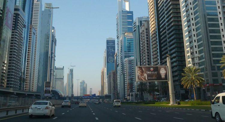 Ads along Sheikh Zayed Road in Dubai.