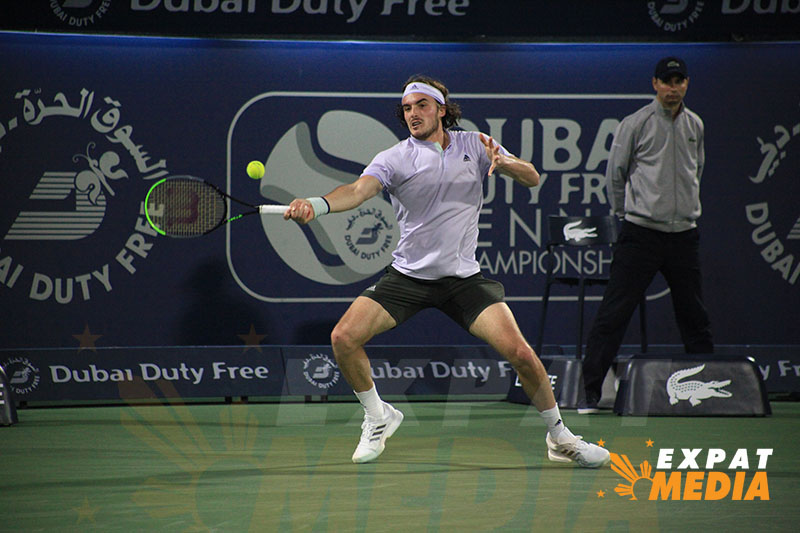 Stefanos Tsitsipas at the Dubai Duty Free Tennis Championships on February 28, 2020