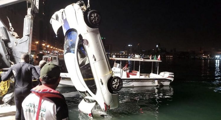 A car plunges into Dubai Creek on March 10, 2020