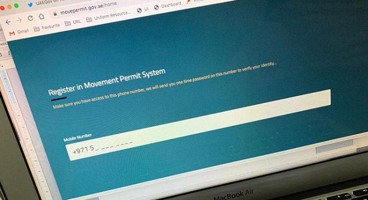 Movement permit registration in Dubai during Covid-19