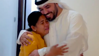 Surprise from Emirati star vlogger Khalid Al Ameri sends Filipina to tears