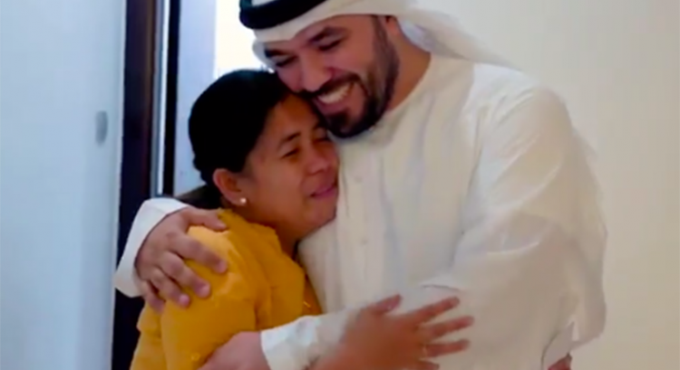 Surprise from Emirati star vlogger Khalid Al Ameri sends Filipina to tears