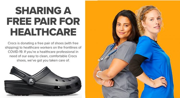 Free pair of Crocs shoes for healthcare workers