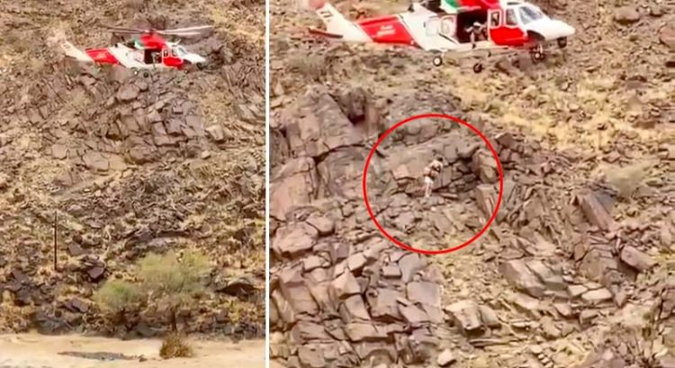 Watch: Man trapped in Sharjah wadi floods rescued