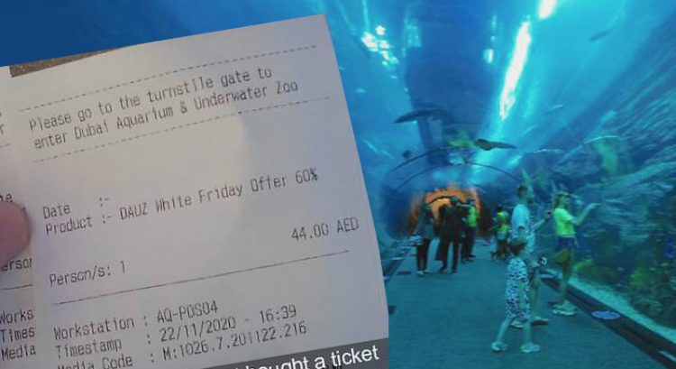 Dh44 ticket to Dubai Aquarium, 60% discount at Dubai attractions