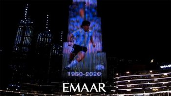 Burj Khalifa lights up in tribute to Diego Maradona
