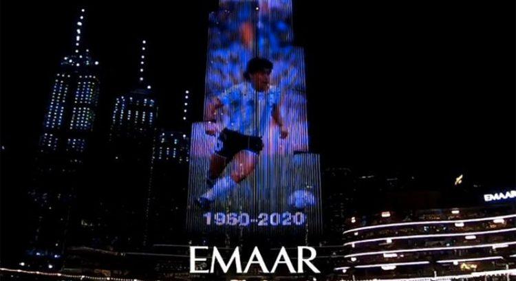 Burj Khalifa lights up in tribute to Diego Maradona